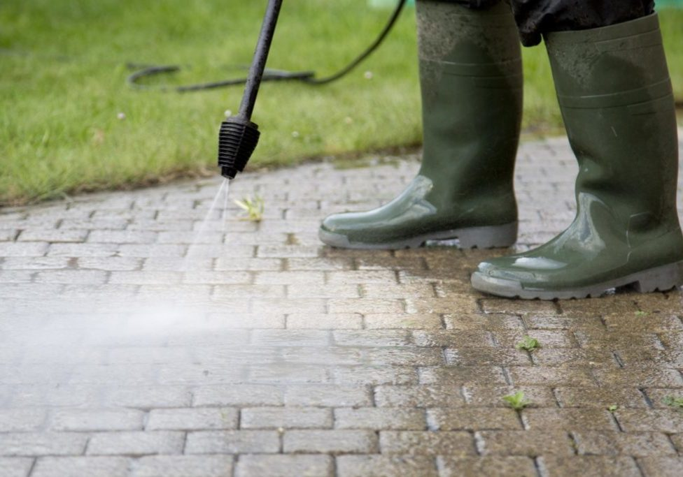 pressure washer cleaning pathway